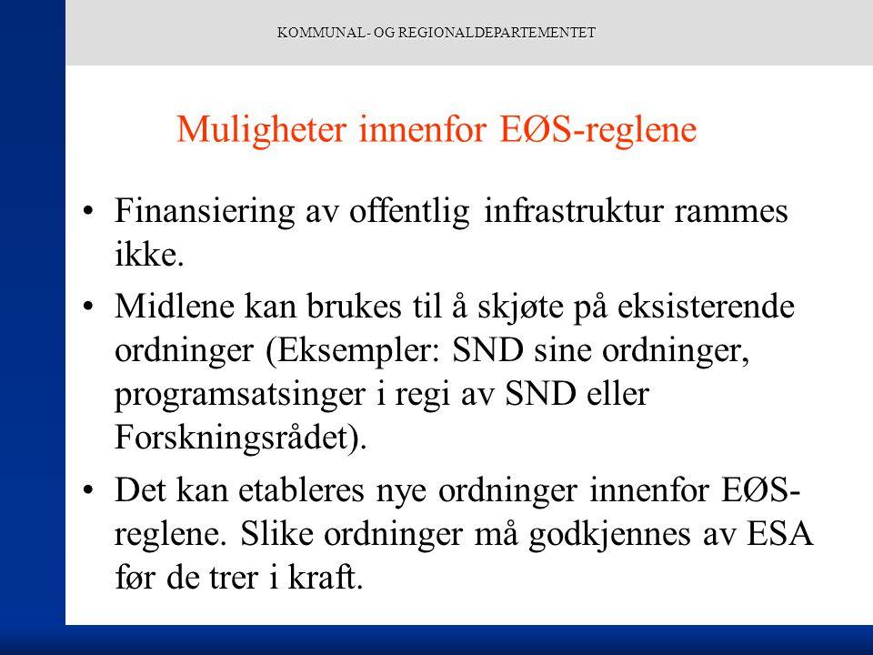 KOMMUNAL- OG REGIONALDEPARTEMENTET Muligheter innenfor EØS-reglene Finansiering av offentlig infrastruktur rammes ikke. Midlene kan brukes til å skjøt