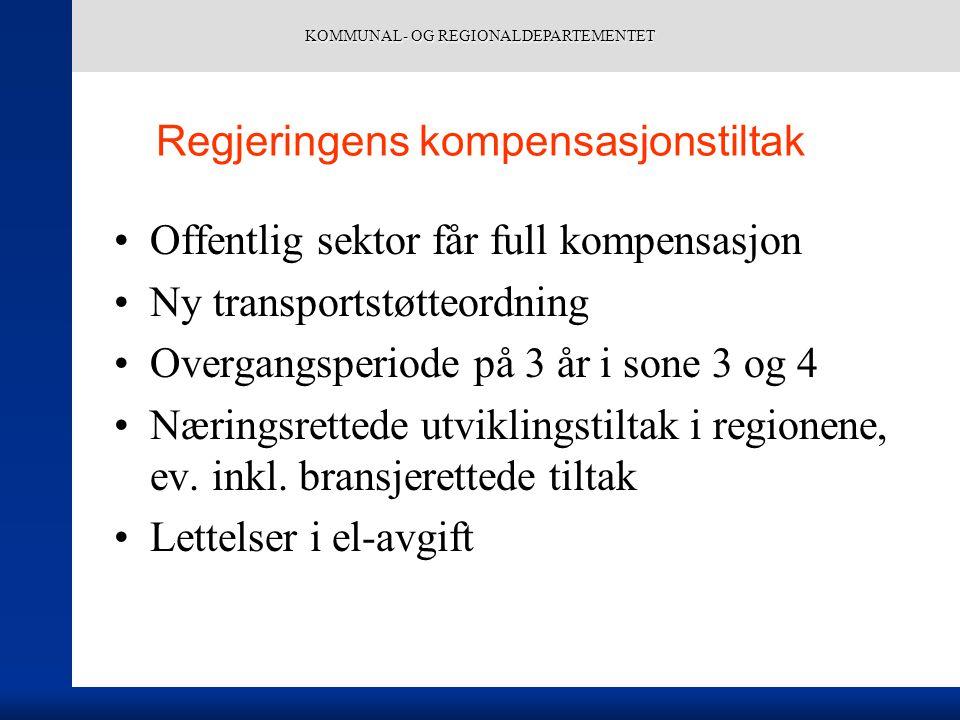 KOMMUNAL- OG REGIONALDEPARTEMENTET Regjeringens kompensasjonstiltak Offentlig sektor får full kompensasjon Ny transportstøtteordning Overgangsperiode