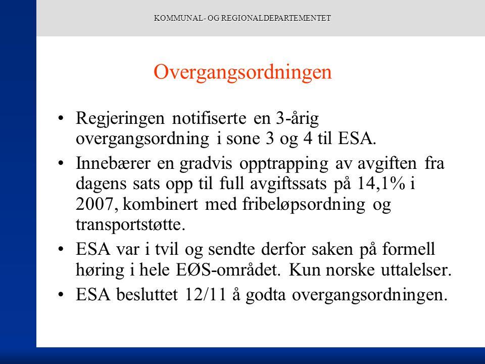 KOMMUNAL- OG REGIONALDEPARTEMENTET Overgangsordningen Regjeringen notifiserte en 3-årig overgangsordning i sone 3 og 4 til ESA. Innebærer en gradvis o