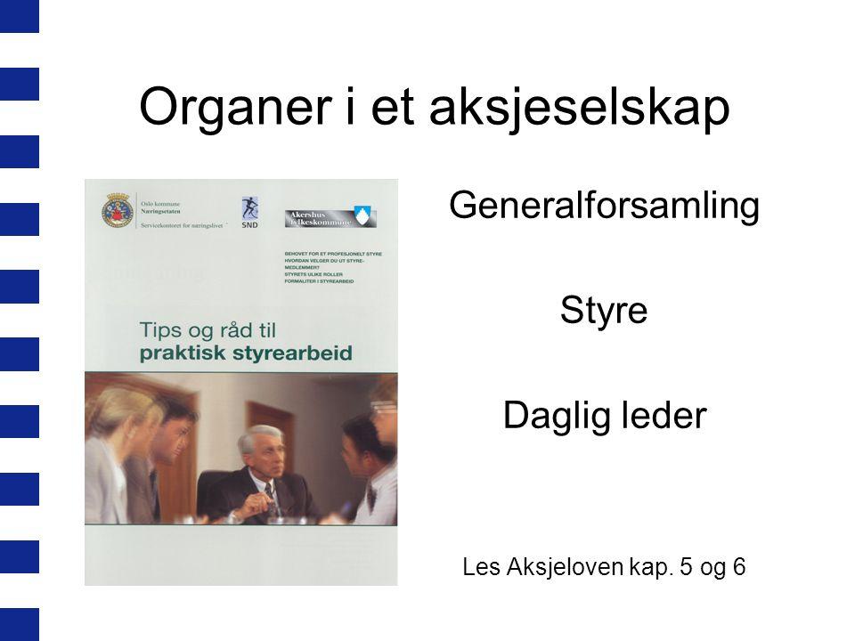 Organer i et aksjeselskap Generalforsamling Styre Daglig leder Les Aksjeloven kap. 5 og 6