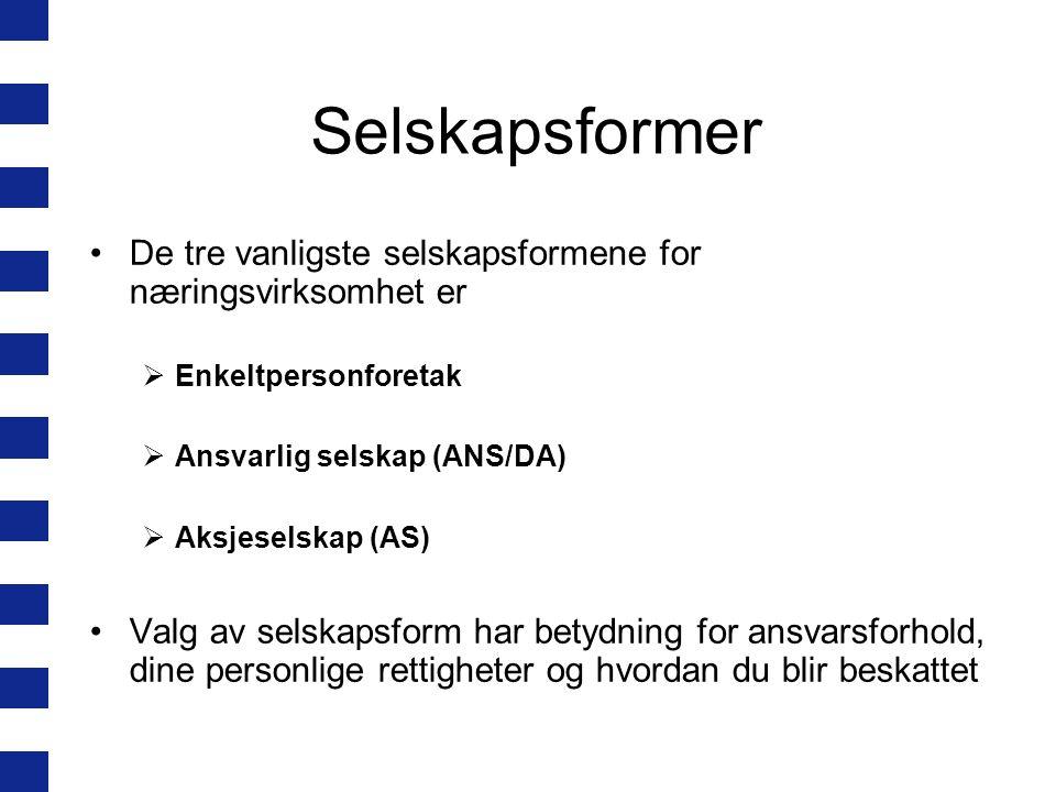 Krav til firmanavn Navnet skal ikke være villedende Må inneholde minst tre bokstaver fra det norske alfabetet Kan ikke alene bestå av navn på et land, fylke eller en kommune Enkeltpersonforetak må ha med etternavnet til innehaver i firmanavnet