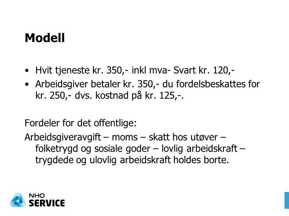 Modell Hvit tjeneste kr. 350,- inkl mva- Svart kr.
