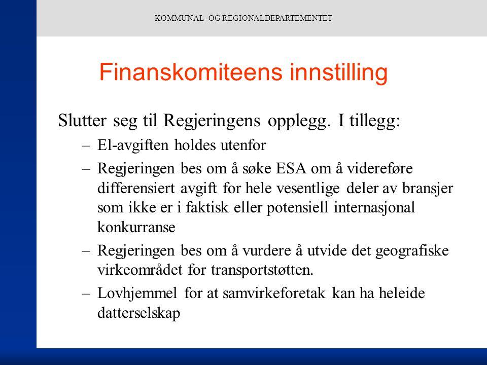 KOMMUNAL- OG REGIONALDEPARTEMENTET Finanskomiteens innstilling Slutter seg til Regjeringens opplegg.