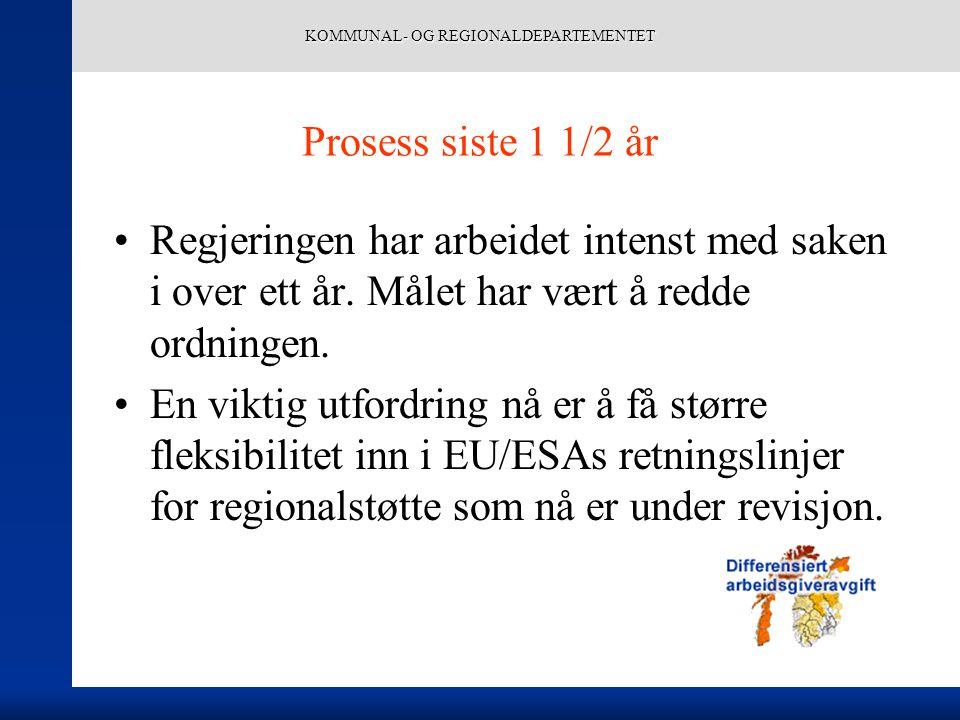 KOMMUNAL- OG REGIONALDEPARTEMENTET Notodden – et eksempel Fikk forhøyet arbeidsgiveravgiften fra 10,6 til 14,1 pst i 2000.