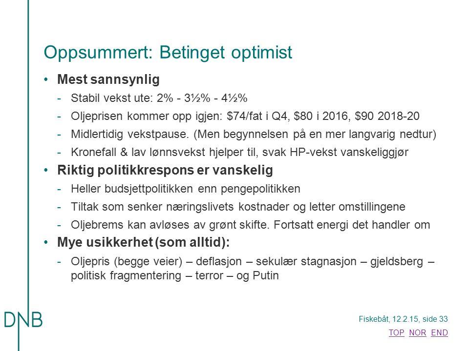Fiskebåt, 12.2.15, side 33 TOPTOP NOR ENDNOREND Oppsummert: Betinget optimist Mest sannsynlig -Stabil vekst ute: 2% - 3½% - 4½% -Oljeprisen kommer opp