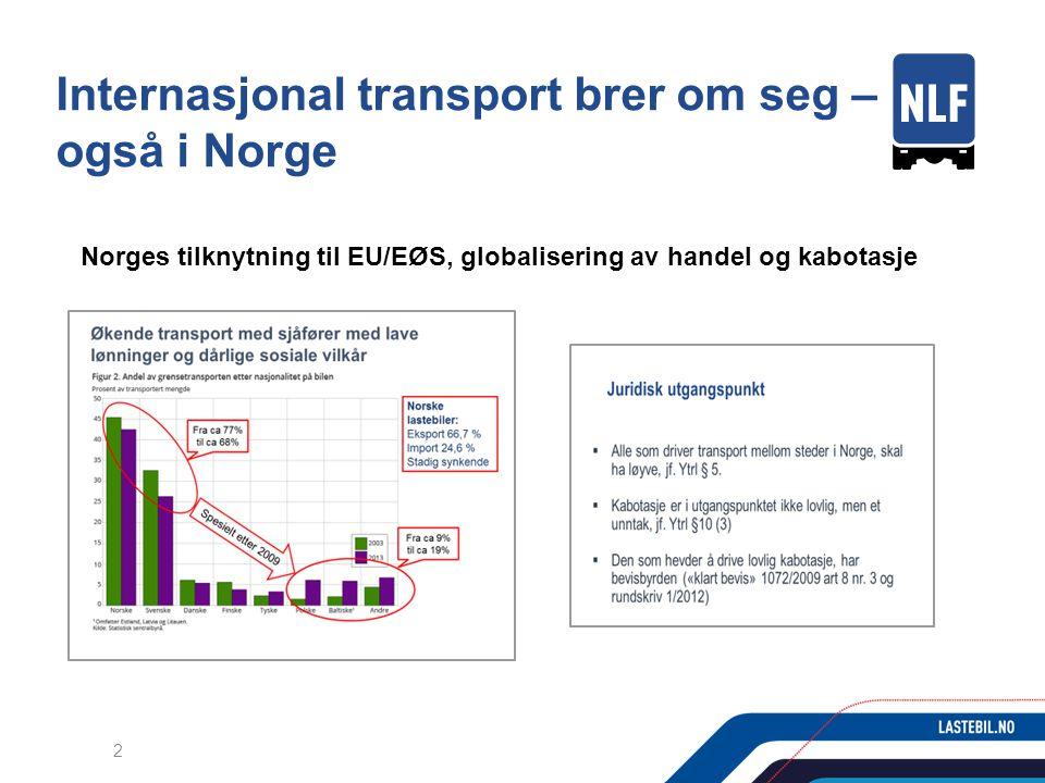 Internasjonal transport brer om seg – også i Norge Norges tilknytning til EU/EØS, globalisering av handel og kabotasje 2