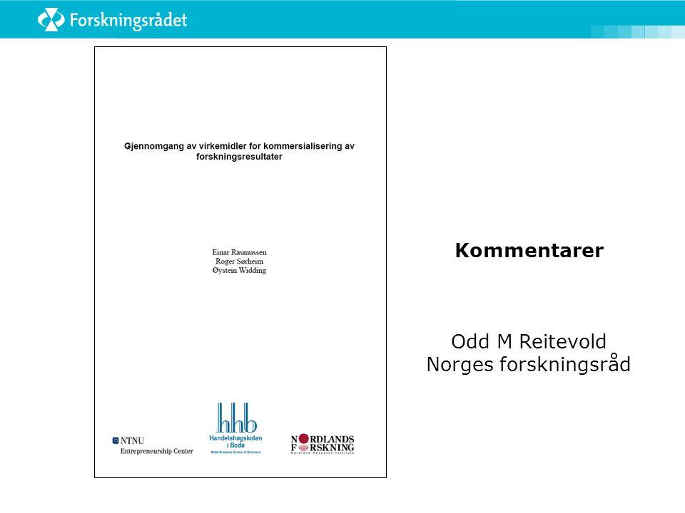Kommentarer Odd M Reitevold Norges forskningsråd