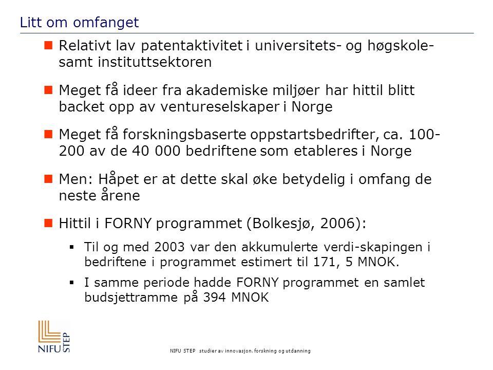NIFU STEP studier av innovasjon, forskning og utdanning Litt om omfanget Relativt lav patentaktivitet i universitets- og høgskole- samt instituttsektoren Meget få ideer fra akademiske miljøer har hittil blitt backet opp av ventureselskaper i Norge Meget få forskningsbaserte oppstartsbedrifter, ca.