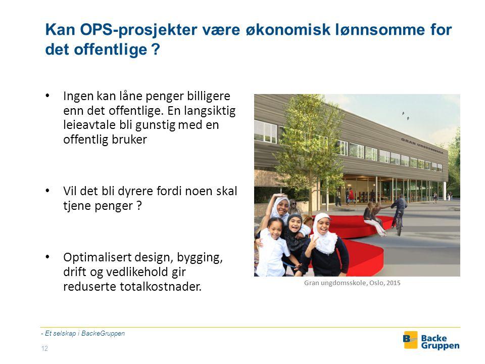 OPS – skoler – samspill nytter - Et selskap i BackeGruppen 13 Asak skole og barnehage, Skedsmo, 2011