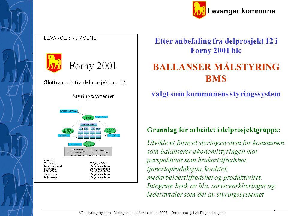 Levanger kommune Vårt styringssystem - Dialogseminar Åre 14. mars 2007 - Kommunalsjef Alf Birger Haugnes 2 Grunnlag for arbeidet i delprosjektgruppa: