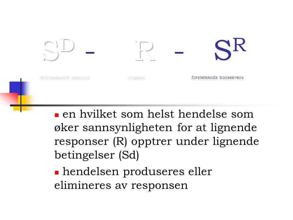 en hvilket som helst hendelse som øker sannsynligheten for at lignende responser (R) opptrer under lignende betingelser (Sd) hendelsen produseres eller elimineres av responsen