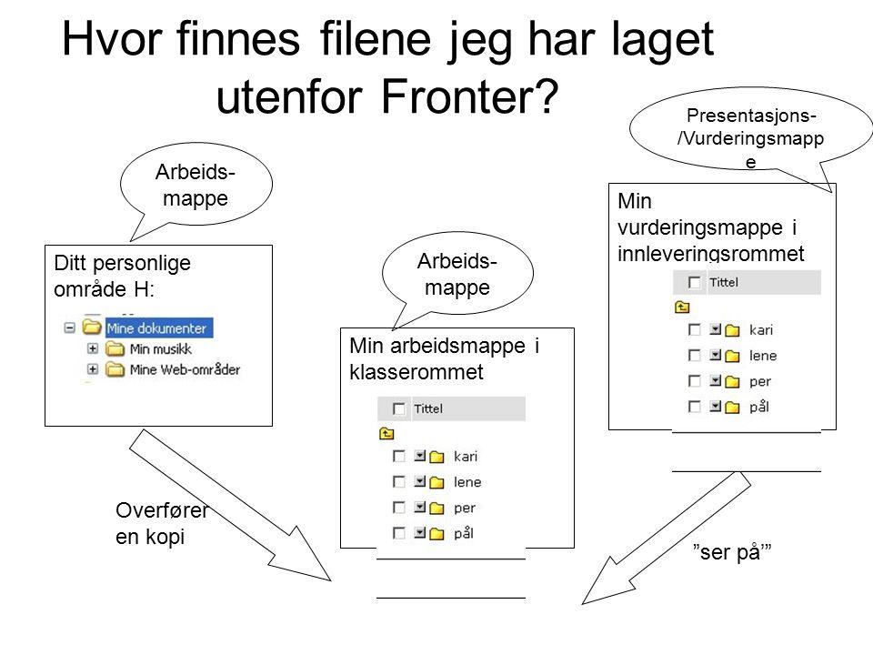 Hvor finnes filene jeg har laget utenfor Fronter.