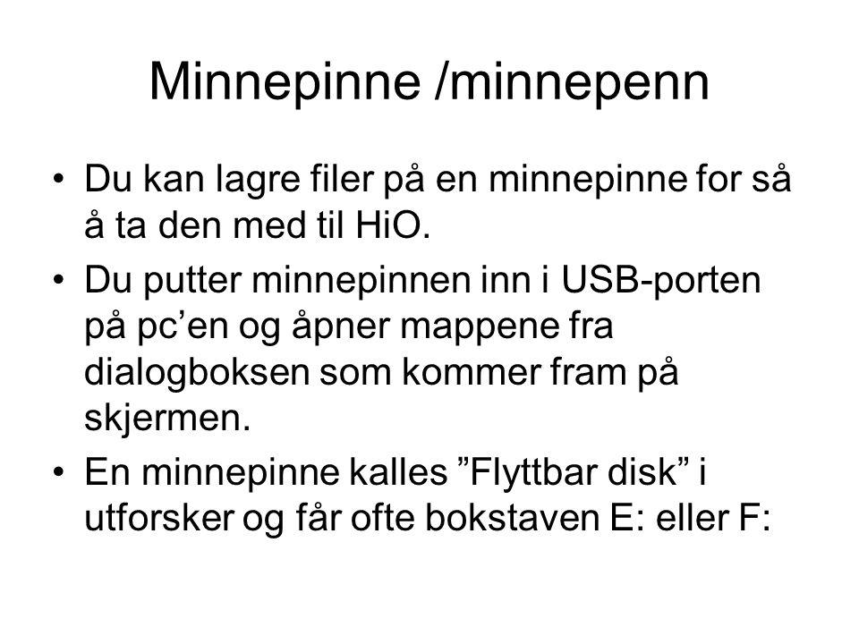 Minnepinne /minnepenn Du kan lagre filer på en minnepinne for så å ta den med til HiO.