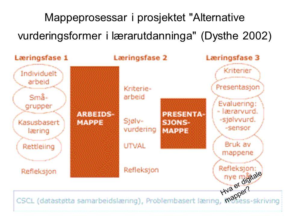 Mappeprosessar i prosjektet Alternative vurderingsformer i lærarutdanninga (Dysthe 2002) Hva er digitale mapper