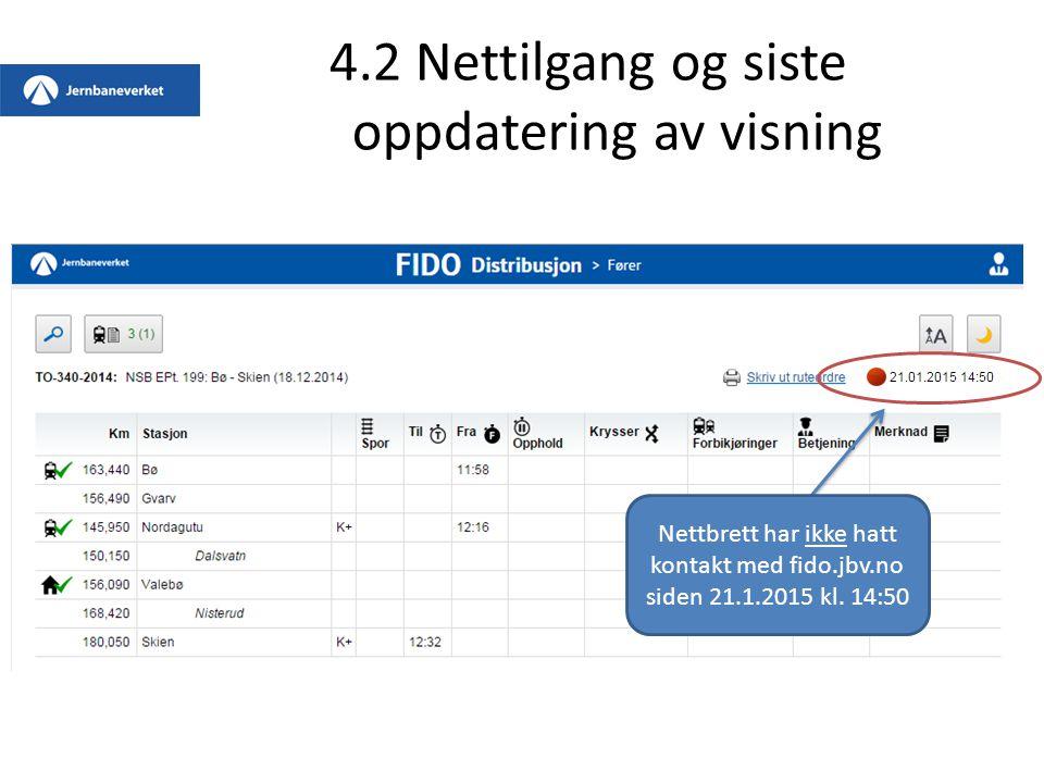 4.2 Nettilgang og siste oppdatering av visning Nettbrett har ikke hatt kontakt med fido.jbv.no siden 21.1.2015 kl. 14:50