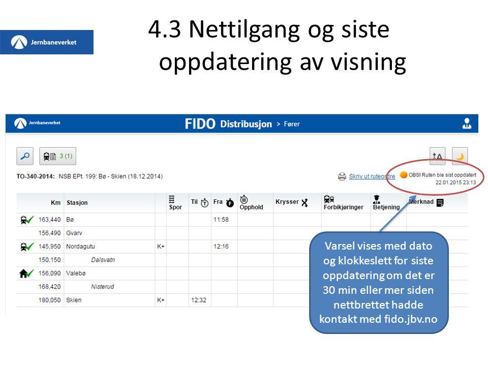 4.3 Nettilgang og siste oppdatering av visning Varsel vises med dato og klokkeslett for siste oppdatering om det er 30 min eller mer siden nettbrettet