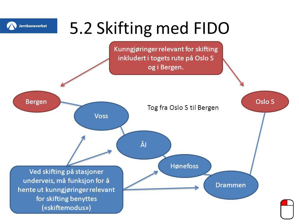 5.2 Skifting med FIDO BergenOslo S Drammen Hønefoss Ål Voss Kunngjøringer relevant for skifting inkludert i togets rute på Oslo S og i Bergen. Ved ski