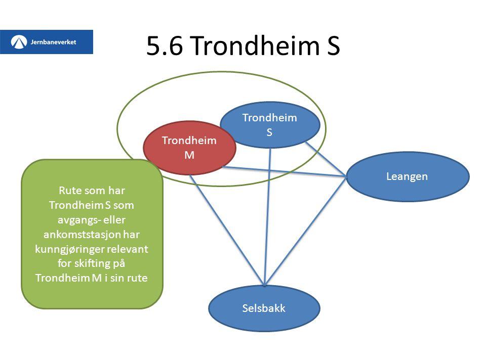 5.6 Trondheim S Trondheim S Trondheim M Leangen Selsbakk Rute som har Trondheim S som avgangs- eller ankomststasjon har kunngjøringer relevant for ski
