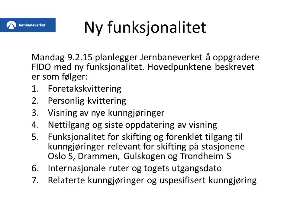 2.6 Personlige kvitteringer Fordelt av jernbaneforetak Kvittering er utført personlig Det er 2 kunngjøringer på Vikersund stasjon med forskjellig kvitteringsstatus