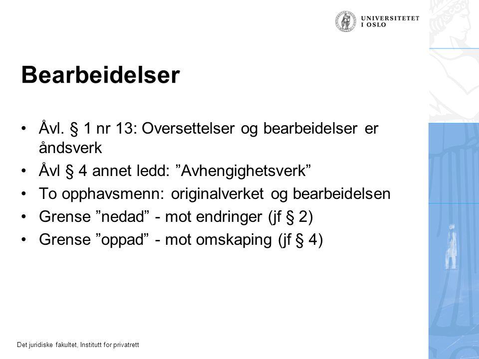 Det juridiske fakultet, Institutt for privatrett Bearbeidelser Åvl.