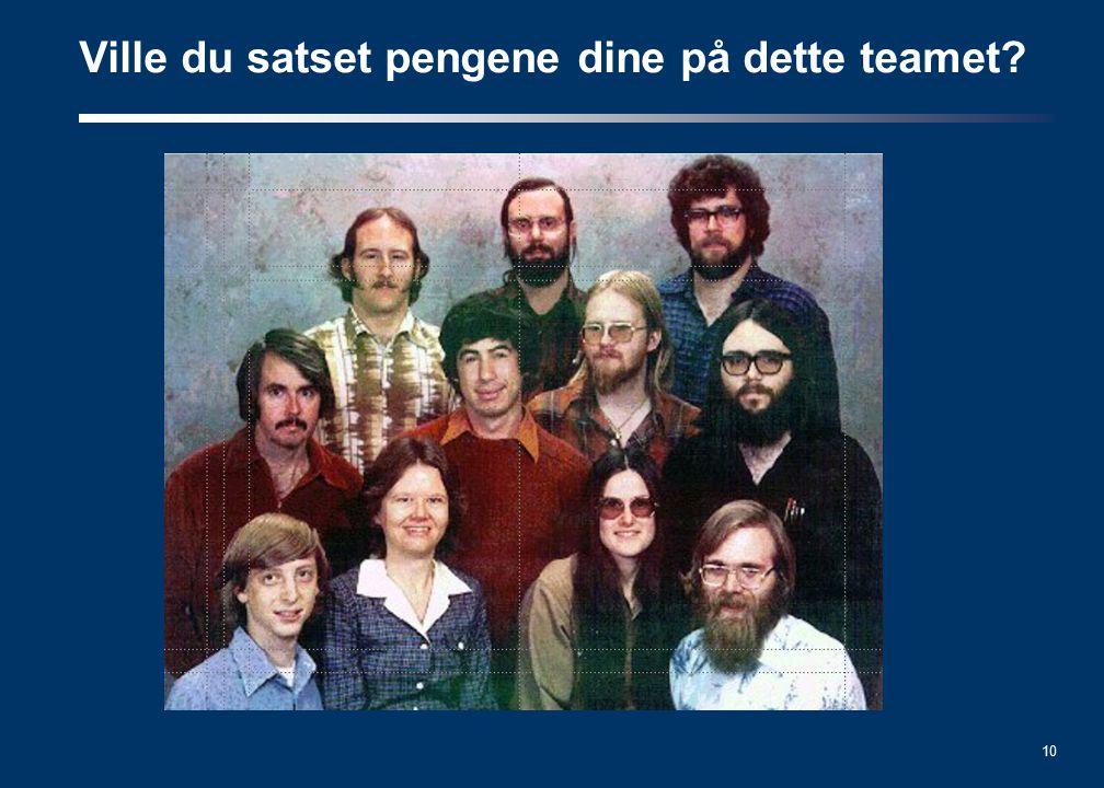 10 Ville du satset pengene dine på dette teamet?