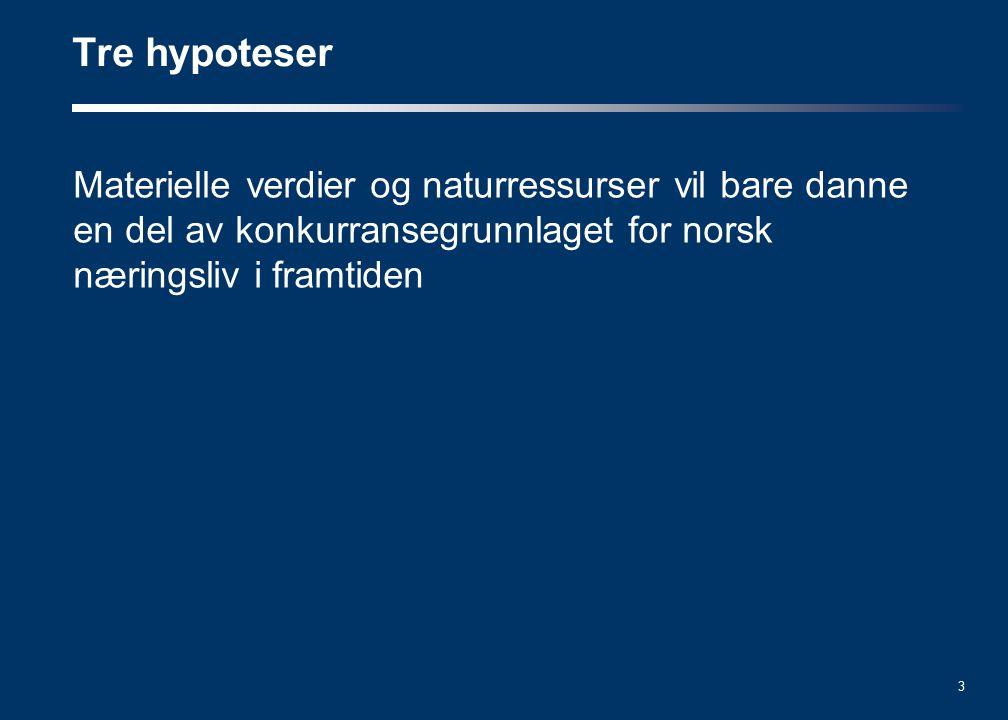 3 Materielle verdier og naturressurser vil bare danne en del av konkurransegrunnlaget for norsk næringsliv i framtiden Tre hypoteser