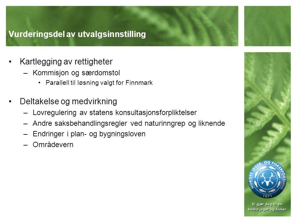 Tradisjonelle samiske områder i Sør- Norge Endringer i fjelloven (statsallmenningene) –Ingen endringer i forvaltningssystemet som sådan –Obligatorisk reindriftsrepresentasjon i fjellstyrer der dette er aktuelt –Presisering av reindriftens rettslige status –Uttak av husflidsvirke Innkjøpt statsgrunn i Sør-Norge –Ingen endringer i forvaltningsordningen –Uttak av husflidsvirke