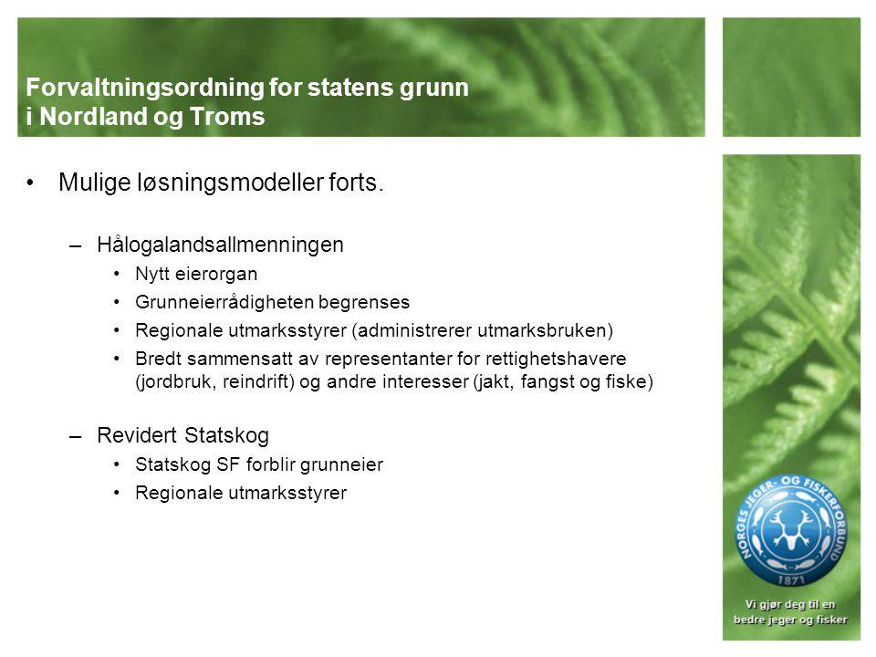 NJFFs grunnsyn Sikre allmennhetens adgang til jakt og fiske Sikre en bærekraftig forvaltning av naturgrunnlaget Samtidig ivareta de samiske interessene og sikre løsninger som ivaretar de folkerettslige forpliktelsene NJFF støtter en forvaltningsmodell med Statskog SF som grunneier og forvalter av jakt- og fiskerettighetene