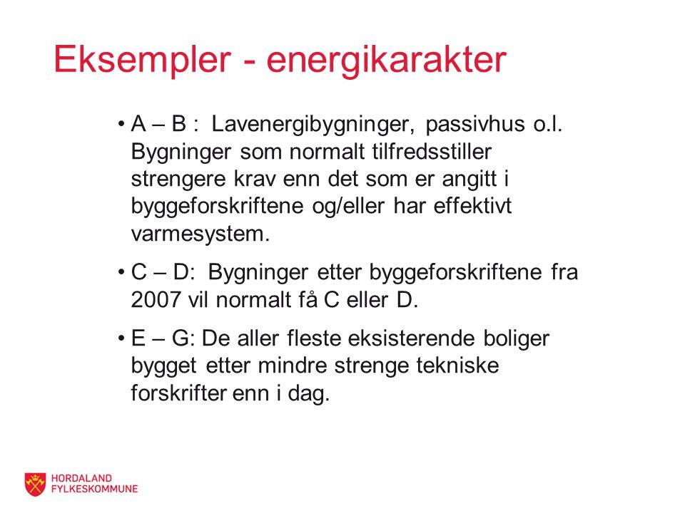 Eksempler - energikarakter A – B : Lavenergibygninger, passivhus o.l.