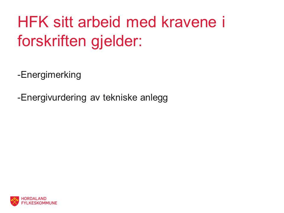 HFK sitt arbeid med kravene i forskriften gjelder: -Energimerking -Energivurdering av tekniske anlegg