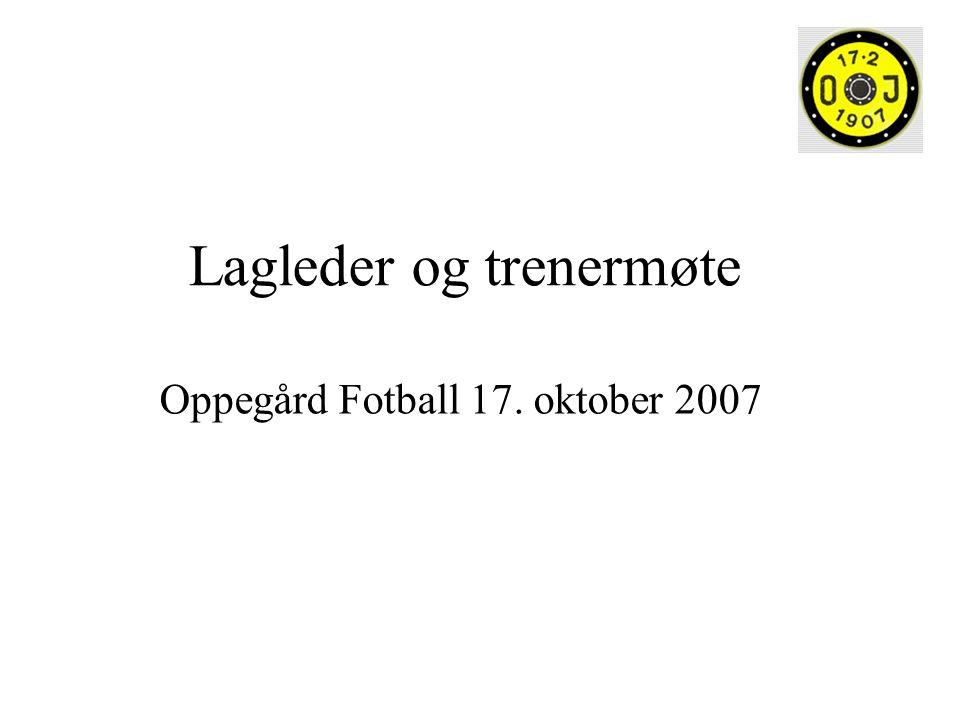 Lagleder og trenermøte Oppegård Fotball 17. oktober 2007