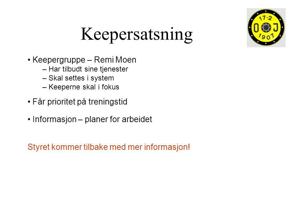 Keepersatsning Keepergruppe – Remi Moen – Har tilbudt sine tjenester – Skal settes i system – Keeperne skal i fokus Får prioritet på treningstid Infor