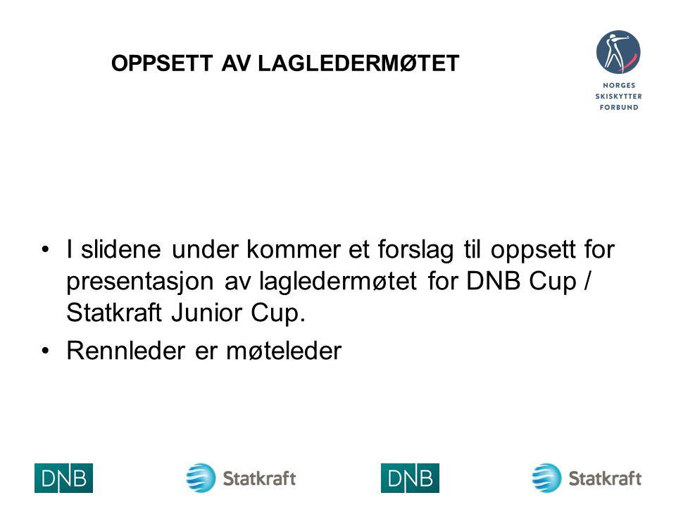 OPPSETT AV LAGLEDERMØTET I slidene under kommer et forslag til oppsett for presentasjon av lagledermøtet for DNB Cup / Statkraft Junior Cup. Rennleder