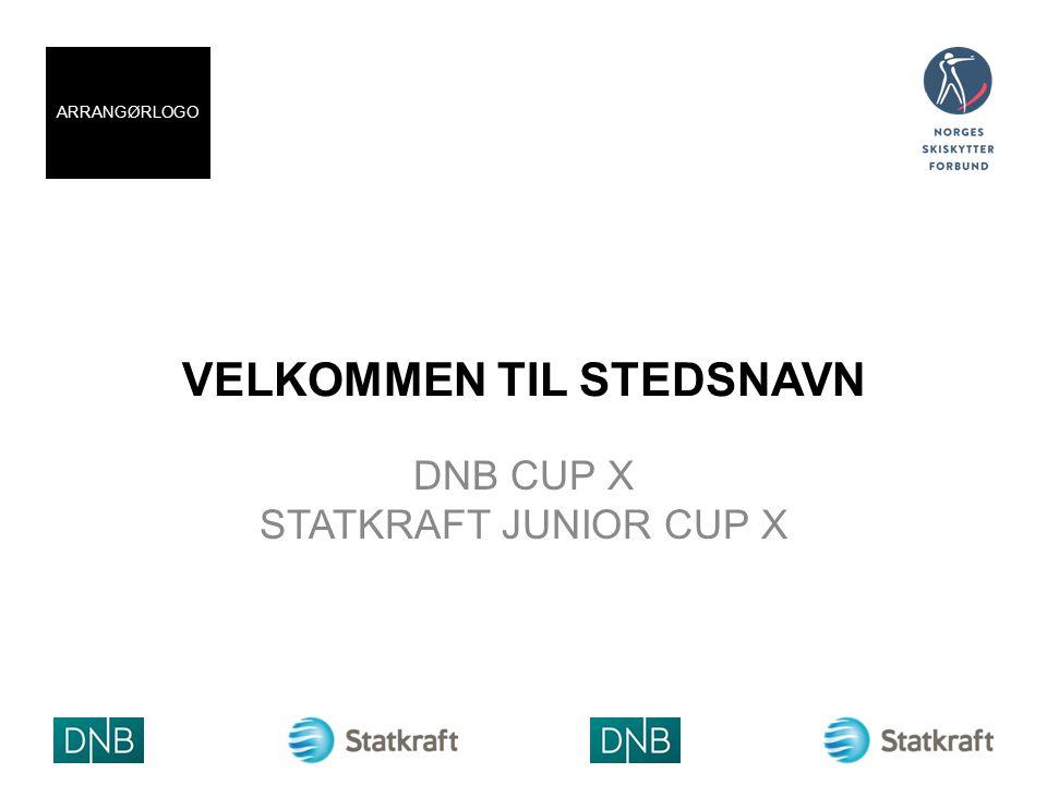 VELKOMMEN TIL STEDSNAVN DNB CUP X STATKRAFT JUNIOR CUP X ARRANGØRLOGO