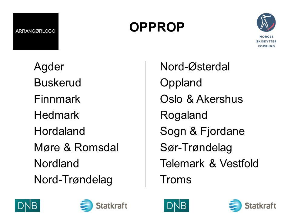 OPPROP Agder Buskerud Finnmark Hedmark Hordaland Møre & Romsdal Nordland Nord-Trøndelag Nord-Østerdal Oppland Oslo & Akershus Rogaland Sogn & Fjordane Sør-Trøndelag Telemark & Vestfold Troms ARRANGØRLOGO