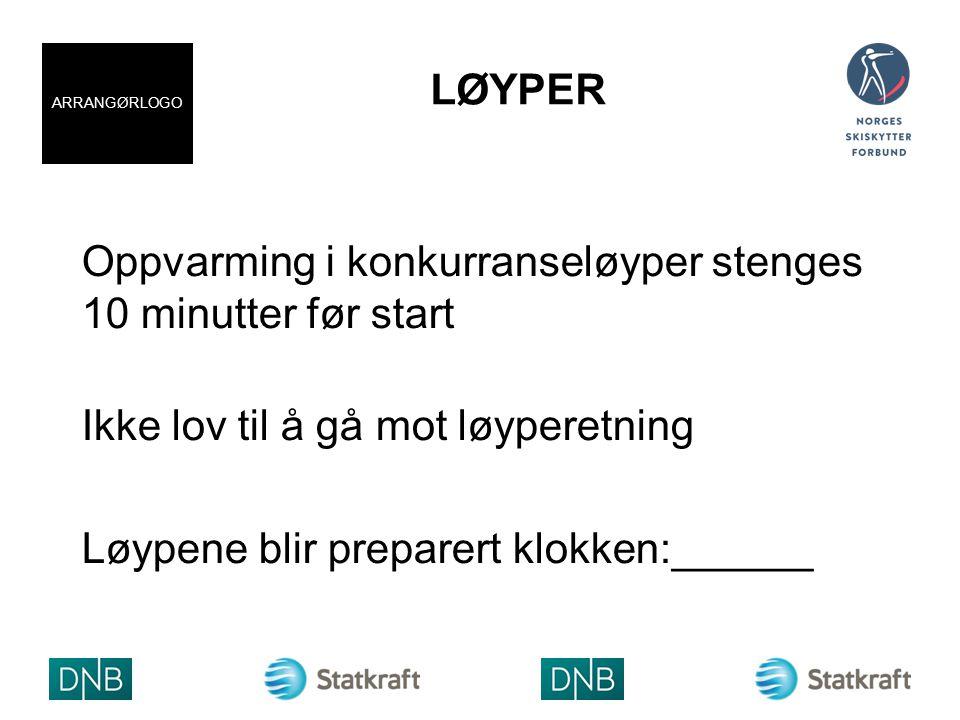 LØYPER Oppvarming i konkurranseløyper stenges 10 minutter før start Ikke lov til å gå mot løyperetning Løypene blir preparert klokken:______ ARRANGØRLOGO