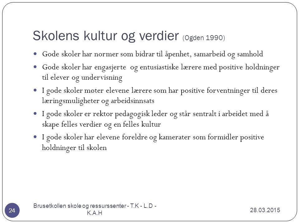 Skolens kultur og verdier (Ogden 1990) 28.03.2015 Brusetkollen skole og ressurssenter - T.K - L.D - K.A.H 24 Gode skoler har normer som bidrar til åpe