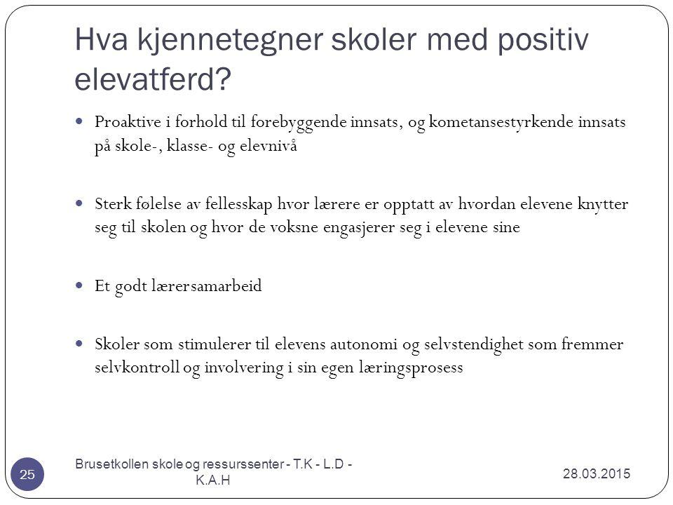 Hva kjennetegner skoler med positiv elevatferd? 28.03.2015 Brusetkollen skole og ressurssenter - T.K - L.D - K.A.H 25 Proaktive i forhold til forebygg