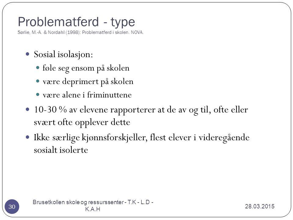 Problematferd - type Sørlie, M.-A. & Nordahl (1998): Problematferd i skolen. NOVA. 28.03.2015 Brusetkollen skole og ressurssenter - T.K - L.D - K.A.H