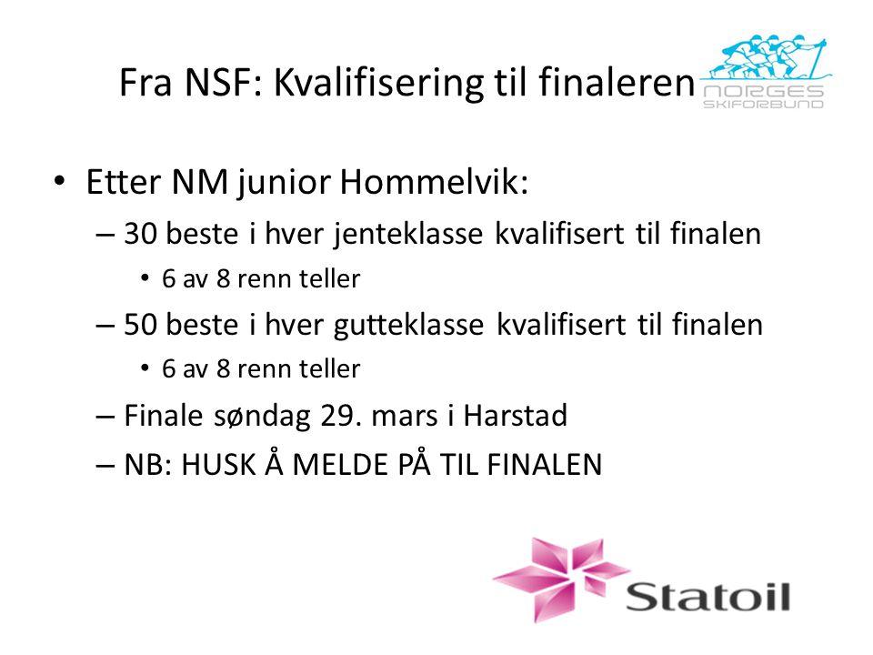 Fra NSF: Kvalifisering til finalerennet Etter NM junior Hommelvik: – 30 beste i hver jenteklasse kvalifisert til finalen 6 av 8 renn teller – 50 beste