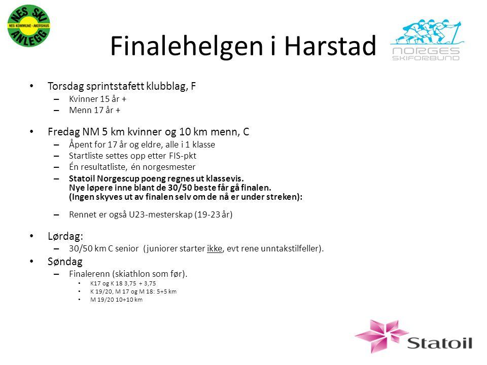 Finalehelgen i Harstad Torsdag sprintstafett klubblag, F – Kvinner 15 år + – Menn 17 år + Fredag NM 5 km kvinner og 10 km menn, C – Åpent for 17 år og