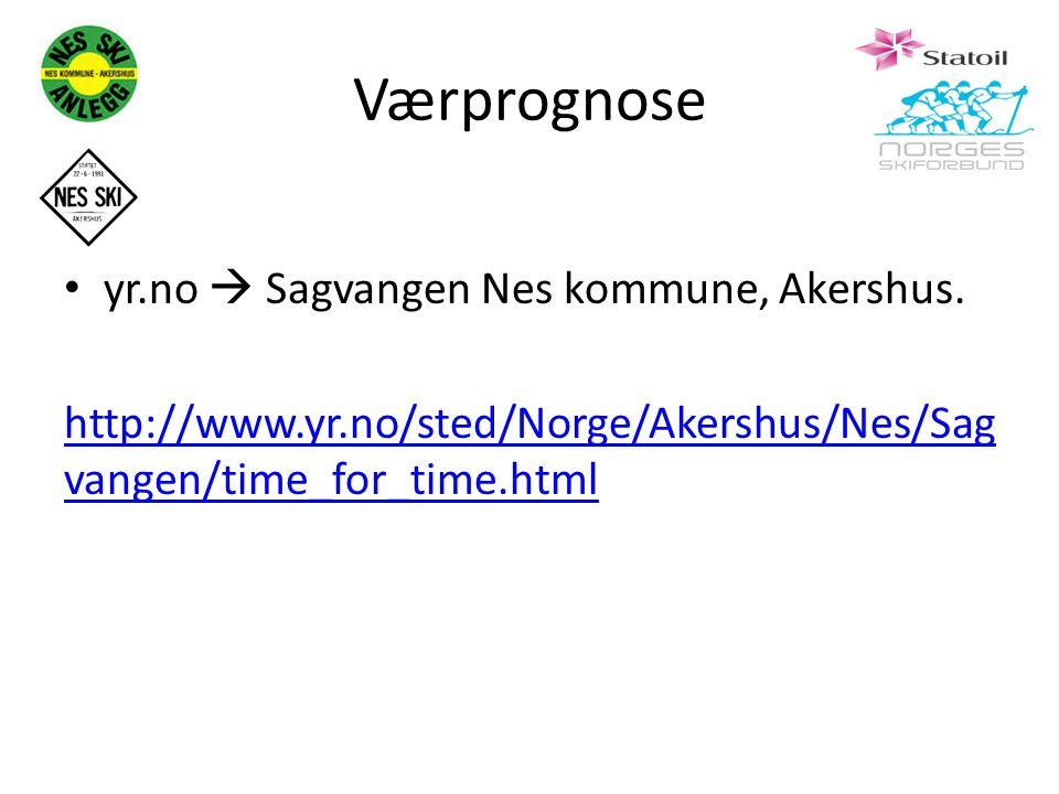 Værprognose yr.no  Sagvangen Nes kommune, Akershus. http://www.yr.no/sted/Norge/Akershus/Nes/Sag vangen/time_for_time.html