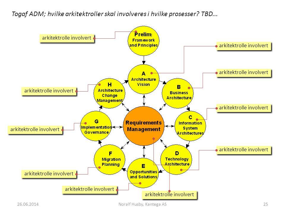 arkitektrolle involvert Togaf ADM; hvilke arkitektroller skal involveres i hvilke prosesser.