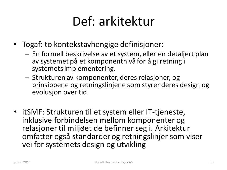 Def: arkitektur Togaf: to kontekstavhengige definisjoner: – En formell beskrivelse av et system, eller en detaljert plan av systemet på et komponentnivå for å gi retning i systemets implementering.