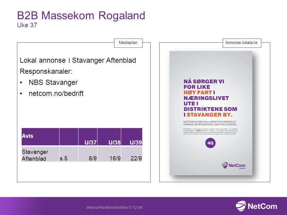 B2B Massekom Rogaland Uke 37 Internal Relation/Identifier 0.1 Draft Annonse lokalavis Lokal annonse i Stavanger Aftenblad Responskanaler: NBS Stavanger netcom.no/bedrift Medieplan Avis U/37U/38U/39 Stavanger Aftenblads.58/916/922/9
