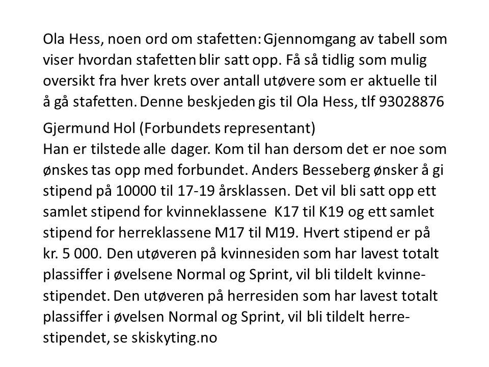 Ola Hess, noen ord om stafetten: Gjennomgang av tabell som viser hvordan stafetten blir satt opp.