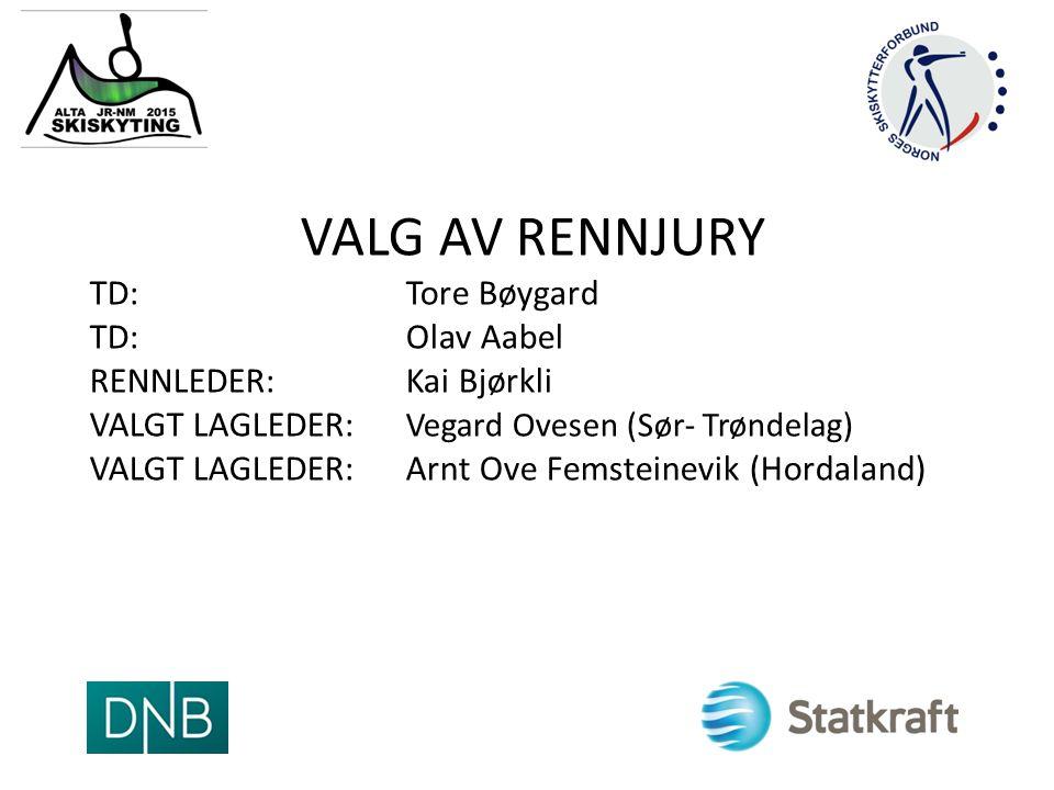 VALG AV RENNJURY TD: Tore Bøygard TD: Olav Aabel RENNLEDER: Kai Bjørkli VALGT LAGLEDER: Vegard Ovesen (Sør- Trøndelag) VALGT LAGLEDER: Arnt Ove Femsteinevik (Hordaland)