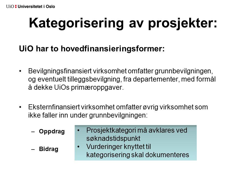Kategorisering av prosjekter: UiO har to hovedfinansieringsformer: Bevilgningsfinansiert virksomhet omfatter grunnbevilgningen, og eventuelt tilleggsbevilgning, fra departementer, med formål å dekke UiOs primæroppgaver.