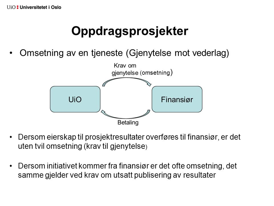 Omsetning av en tjeneste (Gjenytelse mot vederlag) Dersom eierskap til prosjektresultater overføres til finansiør, er det uten tvil omsetning (krav til gjenytelse ) Dersom initiativet kommer fra finansiør er det ofte omsetning, det samme gjelder ved krav om utsatt publisering av resultater Oppdragsprosjekter (omsetning )