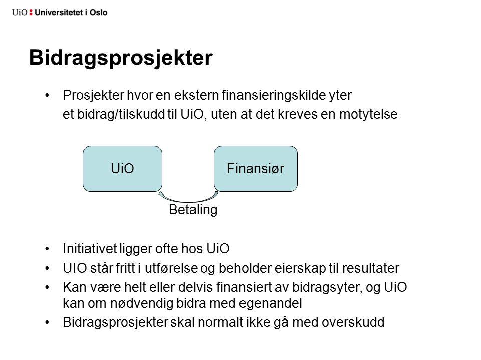 Prosjekter hvor en ekstern finansieringskilde yter et bidrag/tilskudd til UiO, uten at det kreves en motytelse Initiativet ligger ofte hos UiO UIO står fritt i utførelse og beholder eierskap til resultater Kan være helt eller delvis finansiert av bidragsyter, og UiO kan om nødvendig bidra med egenandel Bidragsprosjekter skal normalt ikke gå med overskudd Bidragsprosjekter UiOFinansiør Betaling